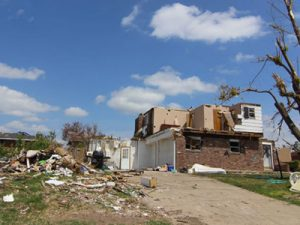 Tornado damage to home